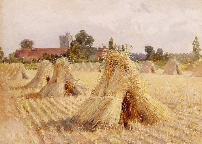 Corn Greeting Card featuring the painting Corn Stooks By Bray Church by Heywood Hardy