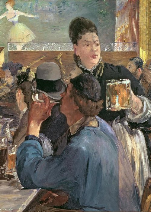 Brasserie De Reichshoffen; Beer; Pipe; Waitress; Audience; Dancer; Impressionist; Cabaret; Choppe; Biere; Leisure; Cafe; Concert Greeting Card featuring the painting Corner Of A Cafe-concert by Edouard Manet