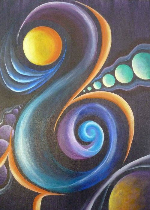 Cosmic Greeting Card featuring the painting Cosmic by Reina Cottier