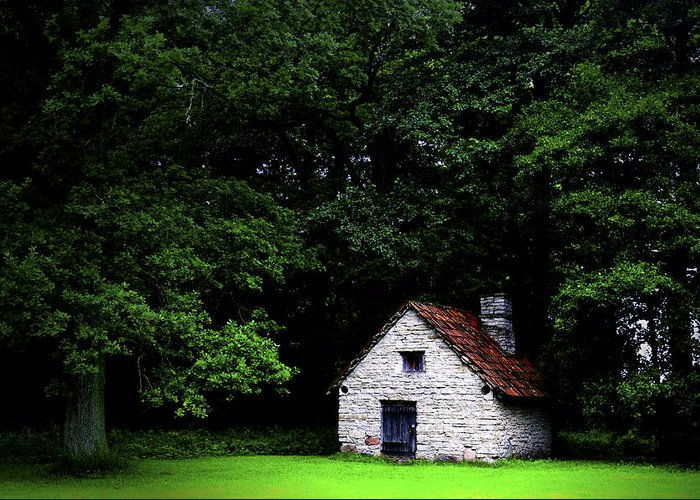 Architecture Greeting Card featuring the photograph Cottage In The Woods by Fabrizio Troiani