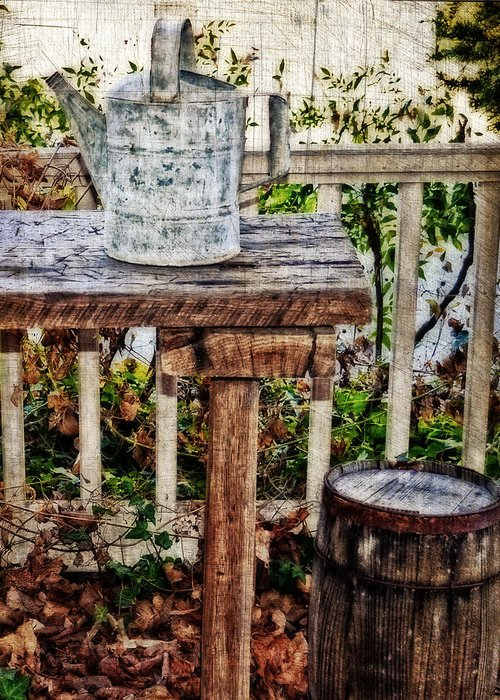 Old Table Greeting Card featuring the photograph Country Porch by Kathy Jennings