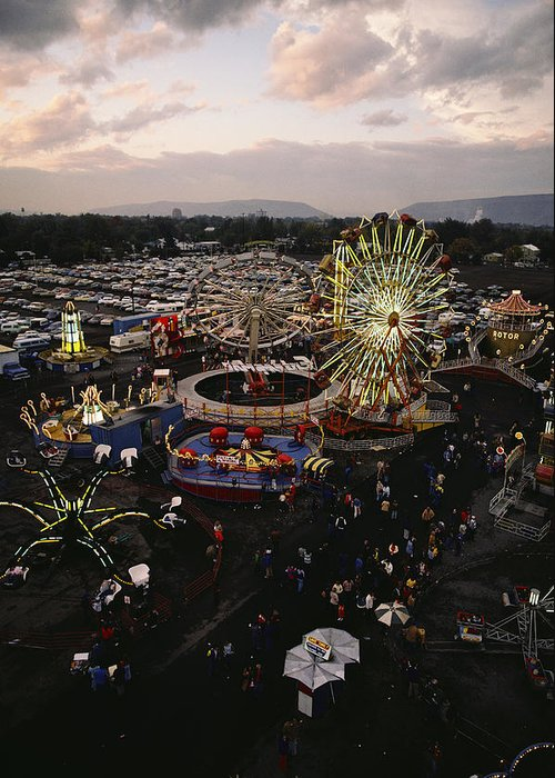Amusement Parks And Rides Greeting Card featuring the photograph County Fair, Yakima Valley, Rides by Sisse Brimberg