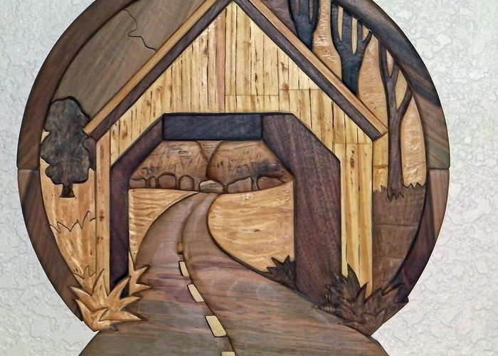 Intarsia Greeting Card featuring the sculpture Covered Bridge by Bill Fugerer