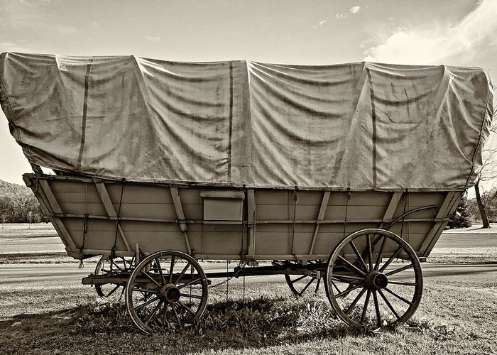 Pennsylvania Greeting Card featuring the photograph Covered Wagon Sepia by Steve Harrington
