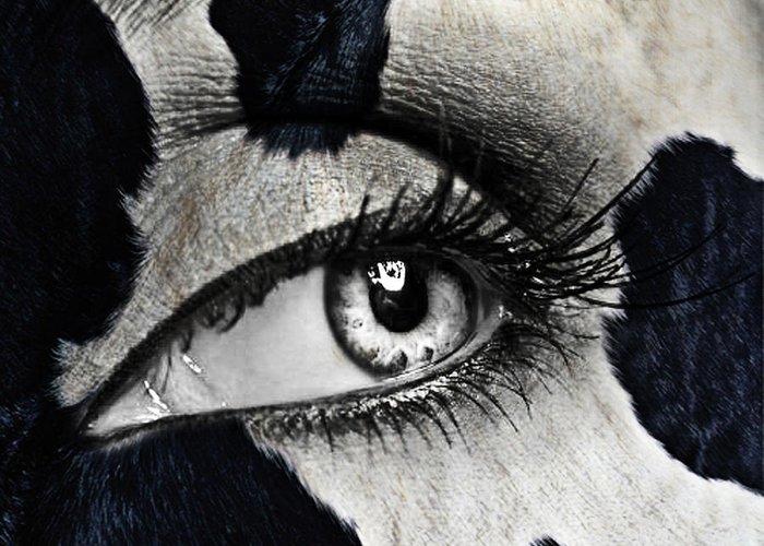 Human Eye Greeting Card featuring the glass art Cow by Yosi Cupano
