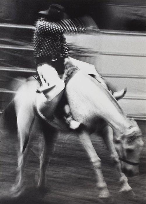 Cowboy Riding Bucking Horse Greeting Card featuring the photograph Cowboy Riding Bucking Horse by Garry Gay