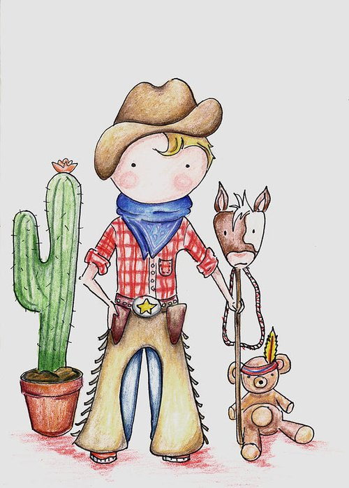 Cowboy Greeting Card featuring the drawing Cowboy by Sarah LoCascio