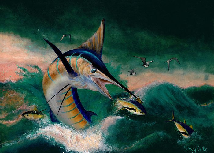 Marlin Greeting Card featuring the painting Crashing Blue by Wesley Carter