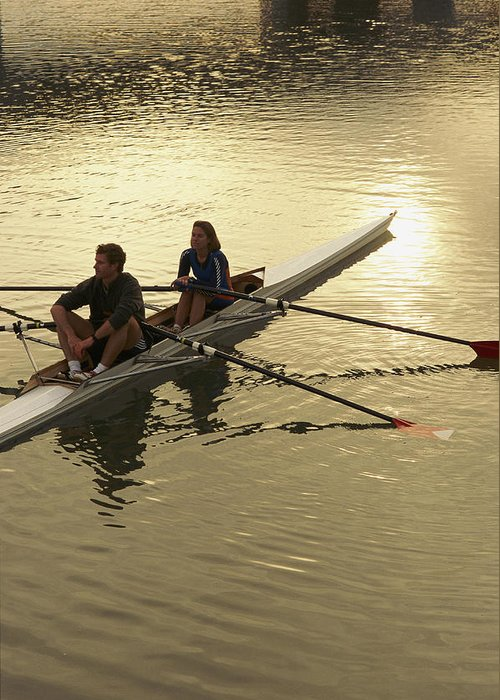 people Greeting Card featuring the photograph Crew Model Released Rowers Take A Break by Phil Schermeister