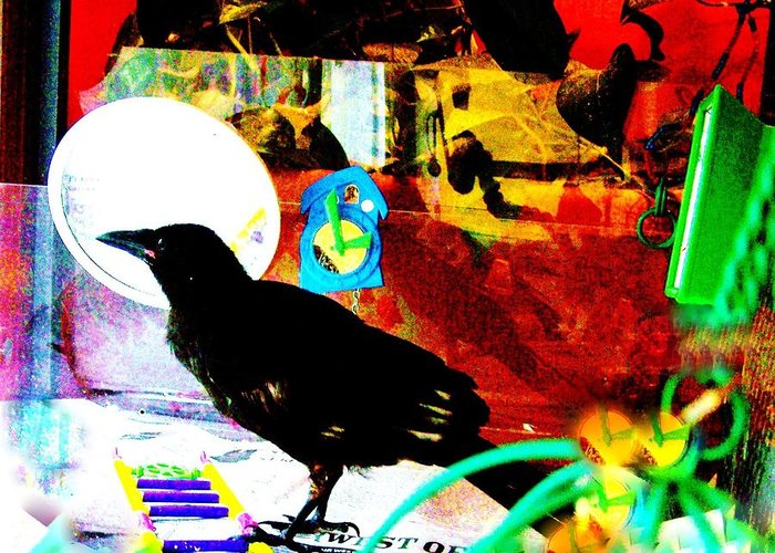 Crow. Bird Music Greeting Card featuring the mixed media Crow's Piano by YoMamaBird Rhonda