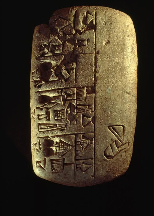Day Greeting Card featuring the photograph Cuneiform Writing Describes Commodities by Lynn Abercrombie