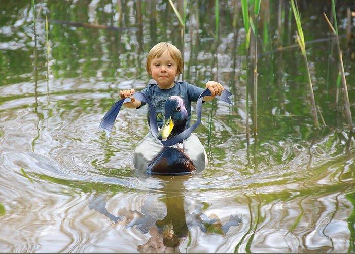Beautiful Greeting Card featuring the photograph Cute Tiny Boy Riding A Duck by Jaroslaw Grudzinski