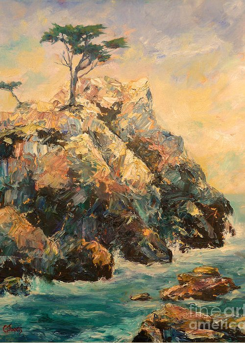 Lone Cypress Greeting Card featuring the painting Cypress Tree by Carolyn Jarvis