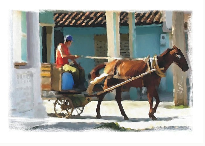 Horse Greeting Card featuring the painting daily chores small town rural Cuba by Bob Salo