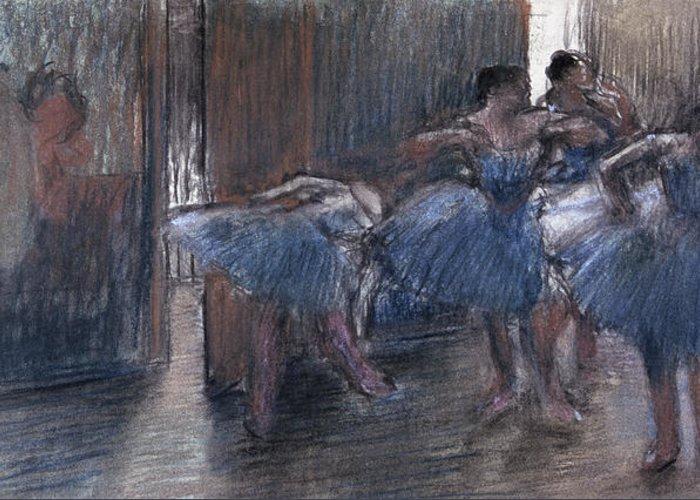 Dancers (pastel) By Edgar Degas (1834-1917) Greeting Card featuring the painting Dancers by Edgar Degas