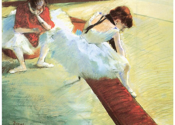 Dancers Resting Greeting Card featuring the pastel Dancers Resting by Edgar Degas