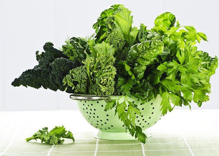Dark Green Greeting Card featuring the photograph Dark Green Leafy Vegetables In Colander by Elena Elisseeva