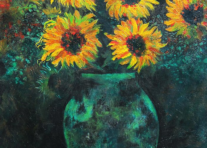 Sunflower Greeting Card featuring the painting Darkened Sun by Carrie Jackson