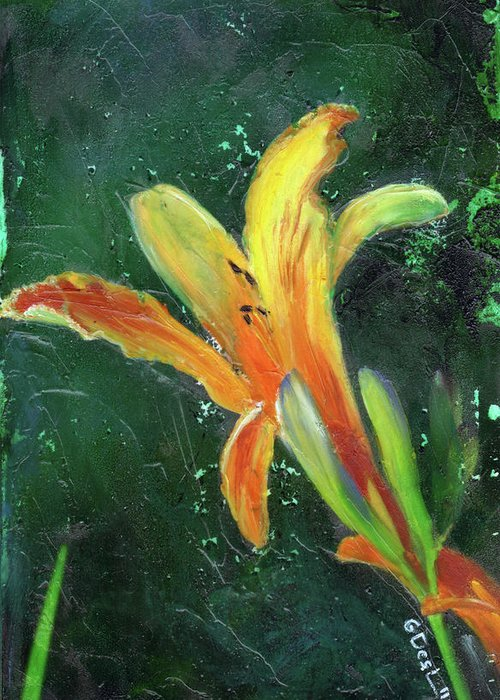Day Lily Greeting Card featuring the painting Day Lily Number Two by Gary Deslauriers
