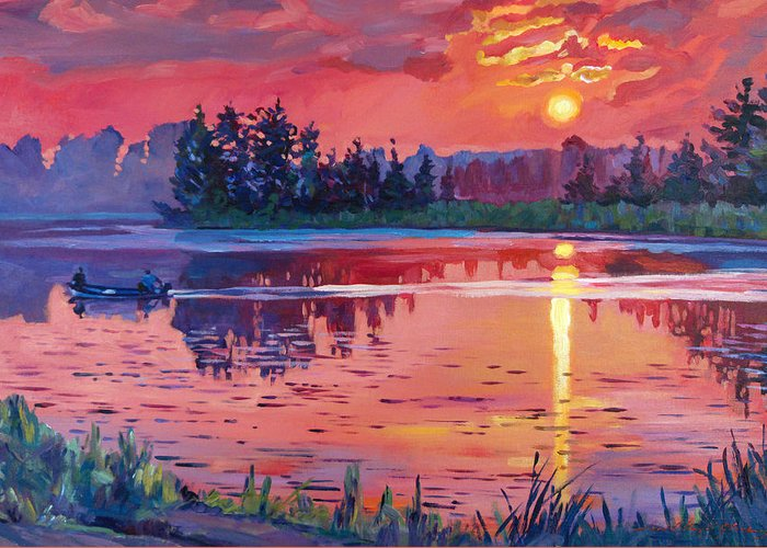 Landscape Greeting Card featuring the painting Daybreak Reflection by David Lloyd Glover