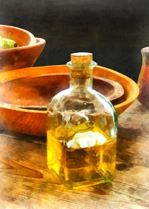 Cook Greeting Card featuring the photograph Decanter Of Oil by Susan Savad