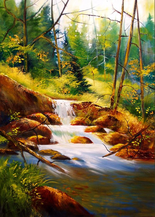 Waterfall Greeting Card featuring the painting Deep Woods Beauty by Robert Carver