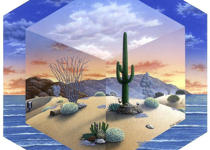 Desert Greeting Card featuring the painting Desert On My Mind 2 by Snake Jagger
