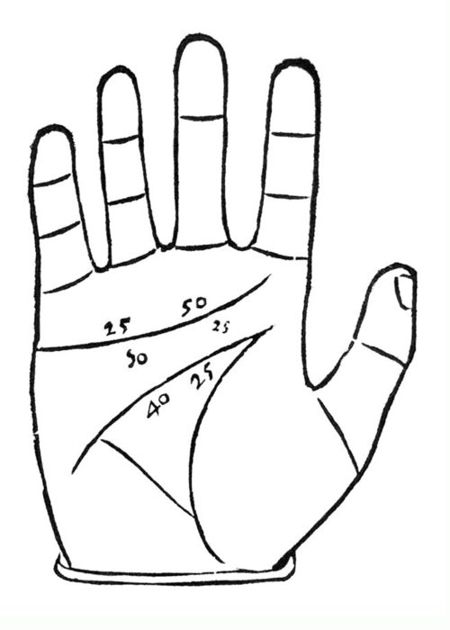 Palmistry Greeting Card featuring the photograph Diagram Used In Palmistry, 16th Century by Middle Temple Library