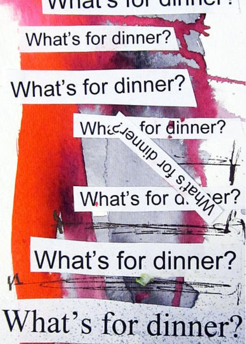Dinner Greeting Card featuring the painting Dinner by Linda Woods