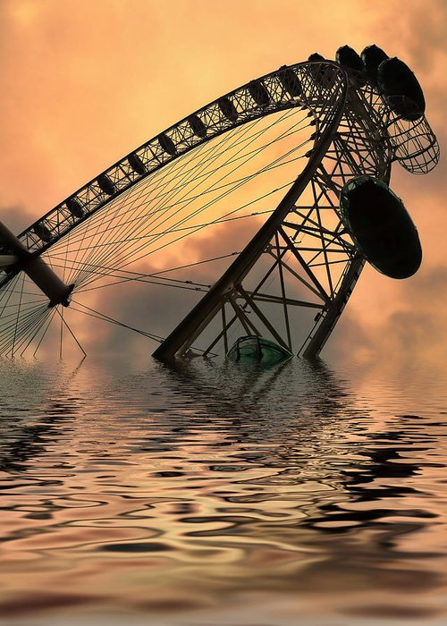 London Eye Greeting Card featuring the photograph Disaster by Sharon Lisa Clarke