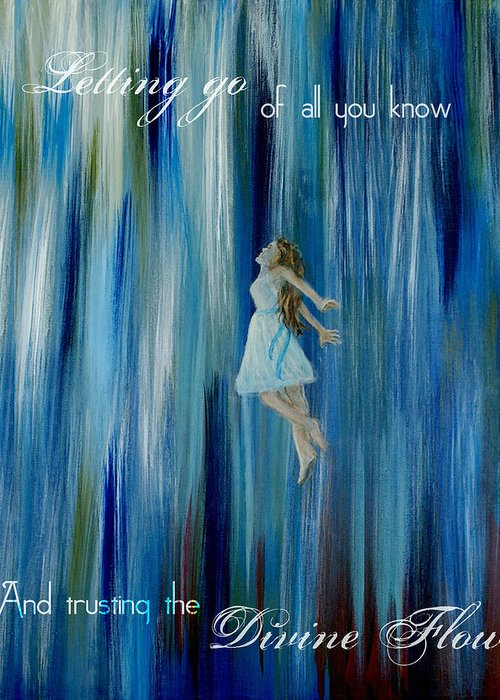 Canvas Angel Print Greeting Card featuring the mixed media Divine Flow by The Art With A Heart By Charlotte Phillips