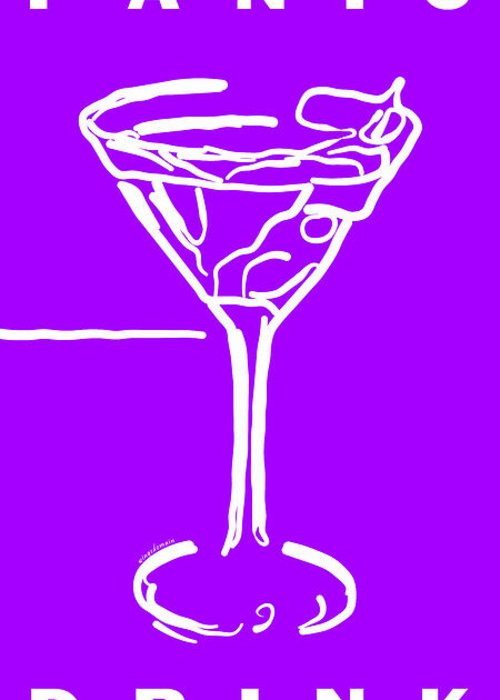 Alcohol Greeting Card featuring the photograph Do Not Panic - Drink Martini - Purple by Wingsdomain Art and Photography