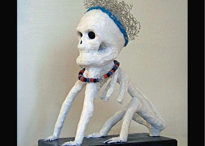 Sculpture Greeting Card featuring the sculpture Dogman -2012 by Tammy Ishmael - Eizman