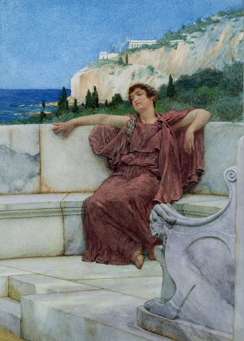 Dolce Greeting Card featuring the painting Dolce Far Niente by Sir Lawrence Alma-Tadema