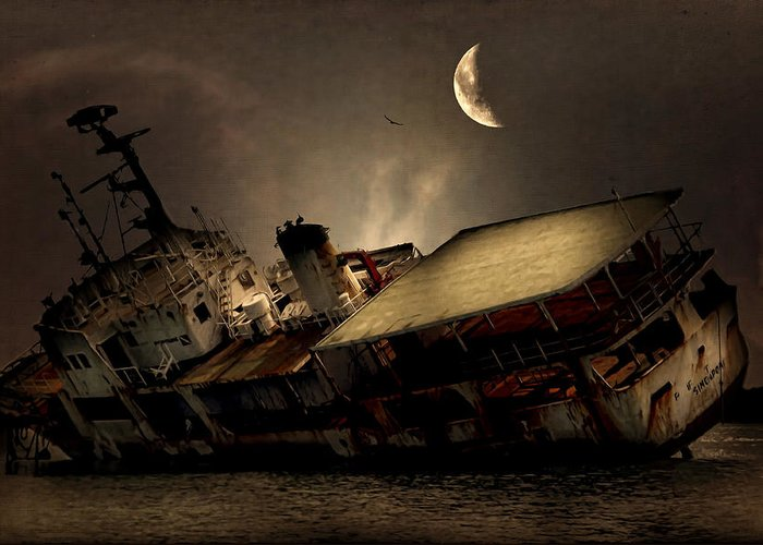 Ship Greeting Card featuring the photograph Doomed To Gloom by Lourry Legarde