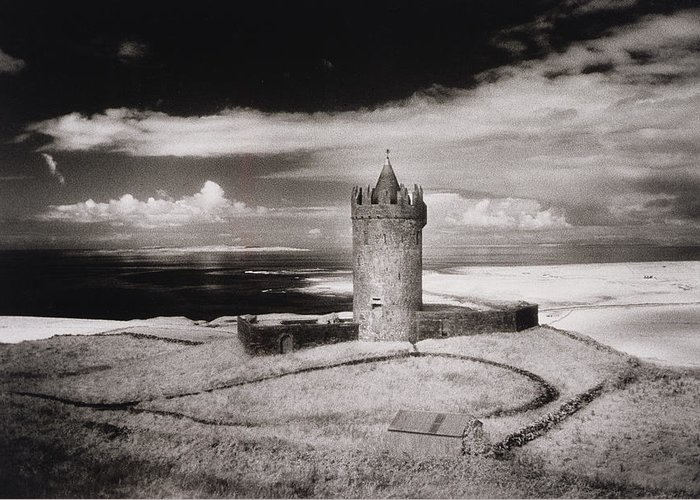 Doonagore Tower Greeting Card featuring the photograph Doonagore Tower by Simon Marsden
