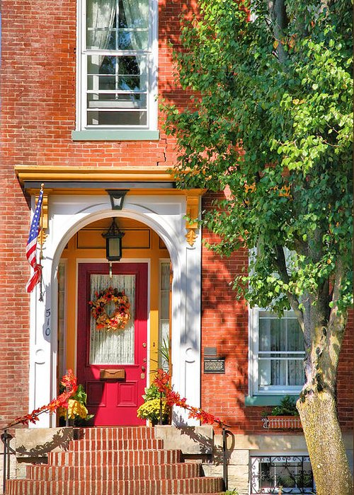 Entrance Greeting Card featuring the photograph Door In Historic District I by Steven Ainsworth