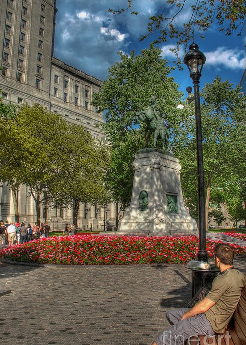 Montreal Square Greeting Card featuring the photograph Dorchester Square Boer War Memorial by Lee Dos Santos