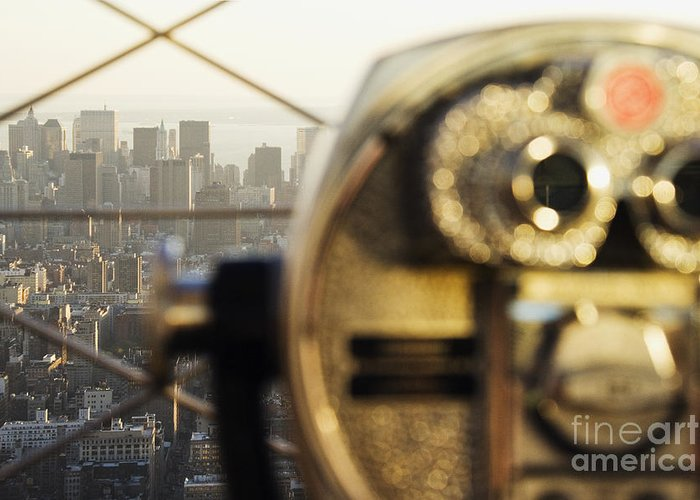 Architecture Greeting Card featuring the photograph Downtown Manhattan Behind Coin Operated Binoculars by Jeremy Woodhouse