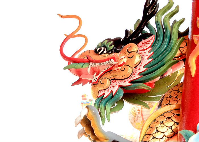 Greeting Card featuring the sculpture Dragon by Panyanon Hankhampa