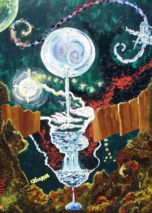 Moons Greeting Card featuring the painting Dreams by Lisa Kramer
