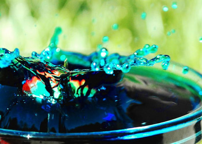 Fruit Water Splash Splashes Squirt Drip Photography Photograph Strawberry Drop Blue Dunk Berry  Greeting Card featuring the photograph Drunken by Sydney Zmitrewicz