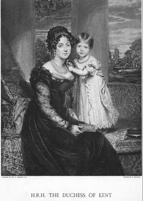 19th Century Greeting Card featuring the photograph Duchess Of Kent & Victoria by Granger