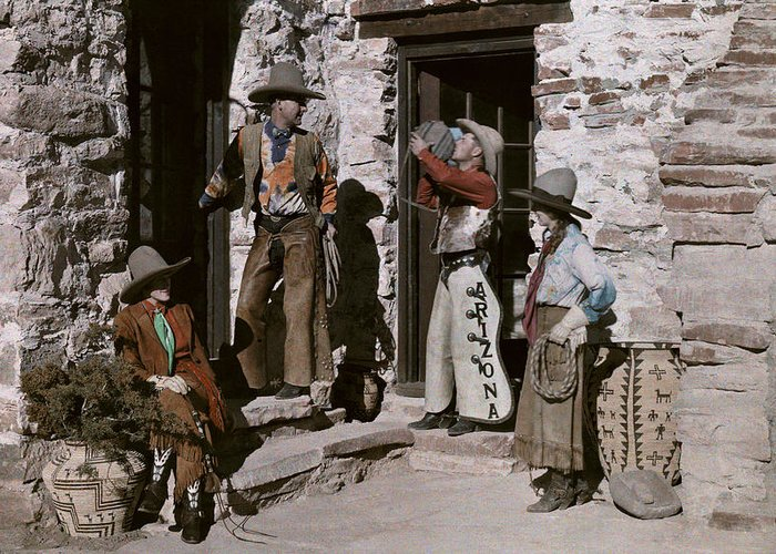 Day Greeting Card featuring the photograph Dude Ranch Guests Pretend To Be Cowboys by Clifton R. Adams