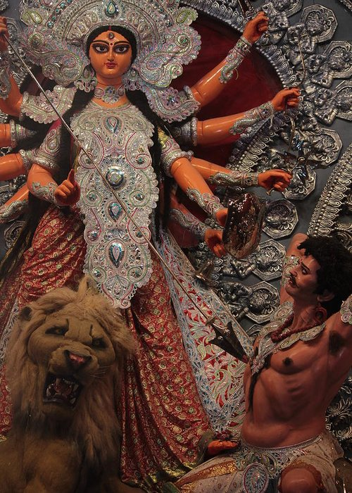 Durga Greeting Card featuring the photograph Durga Goddess 2012 by Rajan Advani