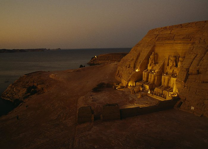 Africa Greeting Card featuring the photograph Dusk Descends On Abu Simbel With Lake by O. Louis Mazzatenta