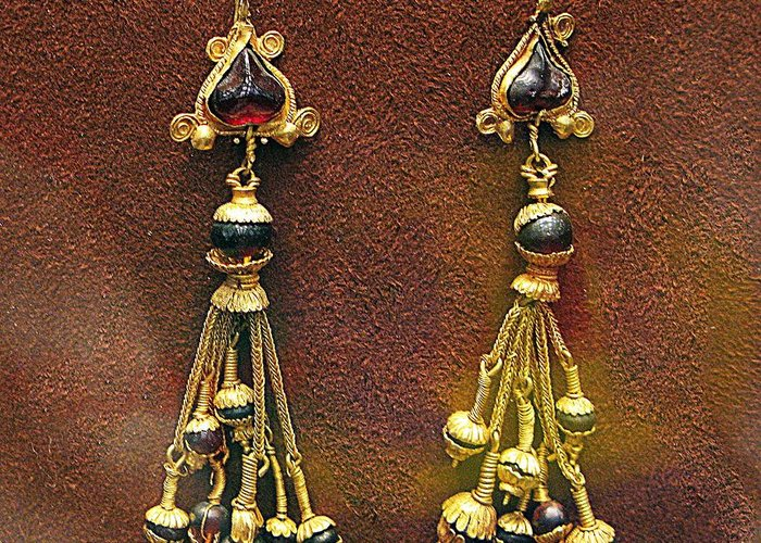Ancient Earrings Greeting Card featuring the photograph Earrings With Garnets by Andonis Katanos