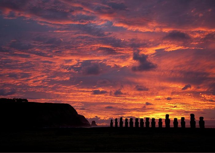 Monolithic; Statues; Statue; Stone; Figures; Carving Greeting Card featuring the photograph Easter Island by Easter Island