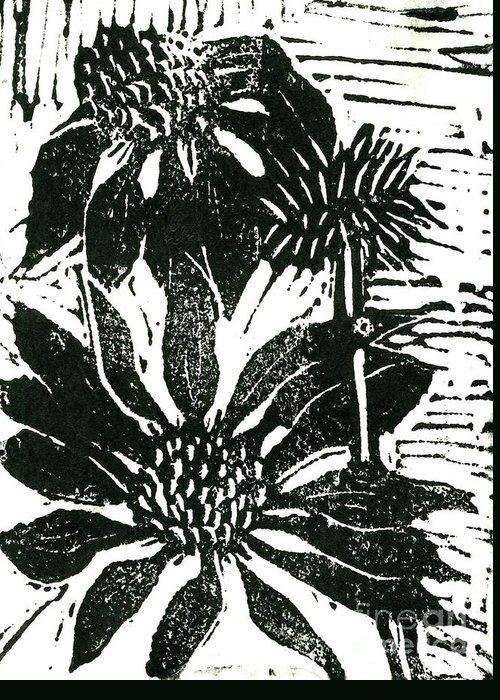 Lino Greeting Card featuring the mixed media Echinacea Block Print by Ellen Miffitt