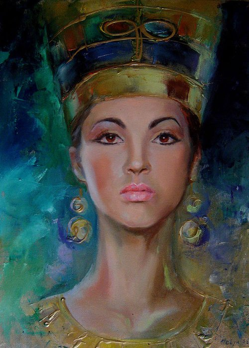 Art Greeting Card featuring the painting Egyptian Princess by Nelya Shenklyarska